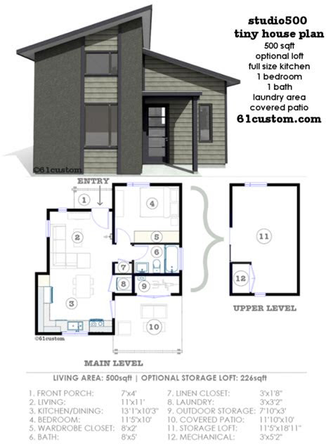 studio modern tiny house plan custom