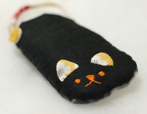 Cat phone case, Black linen
