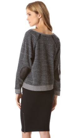 AIR by alice and olivia Leather Elbows Sweater