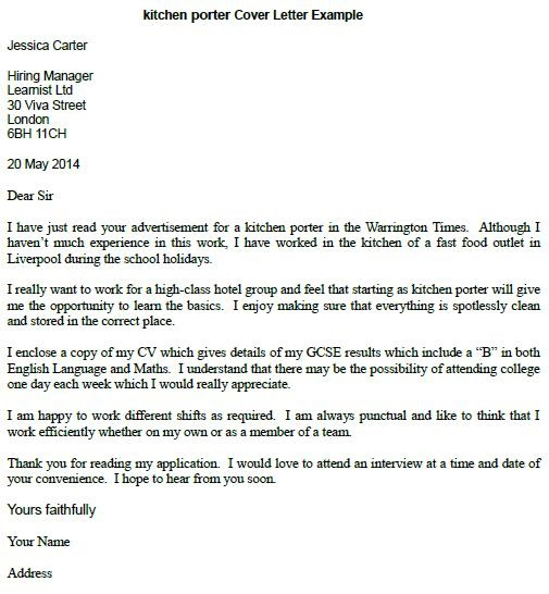 36 sample of application letter for kitchen staff  staff