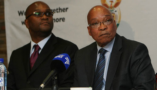 South African Minister of Police Nathi Mthethwa along with President Jacob Zuma. The police and the government have been under severe criticism since the killing of 34 miners in Marikana. by Pan-African News Wire File Photos