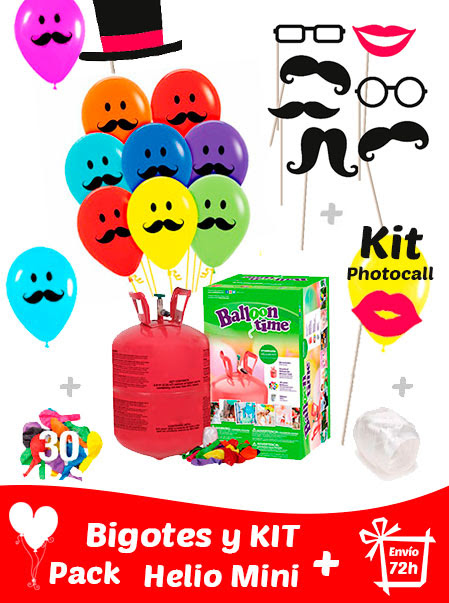 20 Globos Bigotes 30 cm + Kit PhotoCall + Helio Mini · Pack Bigotes Mini