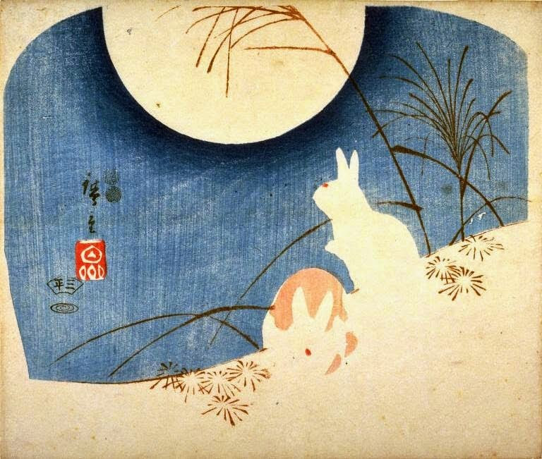 Hiroshige, Untitled (Two Rabbits, Pampas Grass, and Full Moon), 1849 - 1851