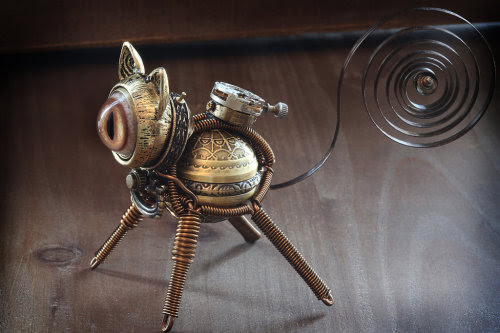 Steampunk Jewelry • Little Steampunk cat sculpture. by...
