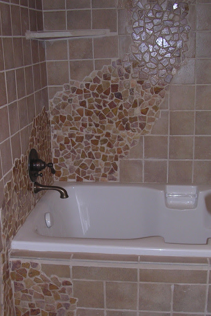 Desert Brown Flat Rock Bath Tub Wall Tile - modern - bathroom - by ...