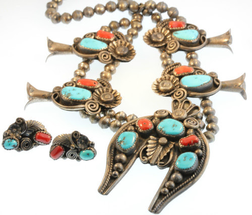 "Vintage Silver, Red Branch Coral & Turquoise Squash Blossom Necklace and Earring Set by ""Jimmy Victor Began"""