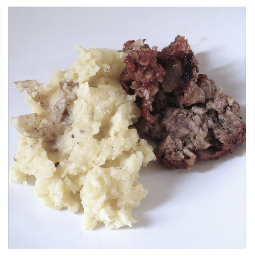 Smashed Potatoes with Matzoh Meatloaf