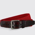Hampton Stretch Belt with Croc Print Tabs - Red