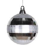 Vickerman M151607 5.5 in. Silver Shiny & Matte Mirror Ball Christmas Ornament