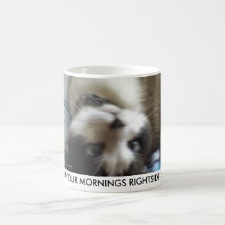 snowshoe upside down kitty classic white coffee mug