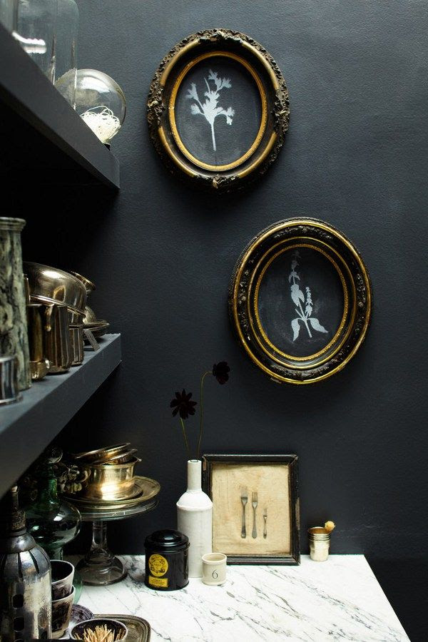 desire to inspire - this little black painted nook is adorable, love the gold accents, and the marble.