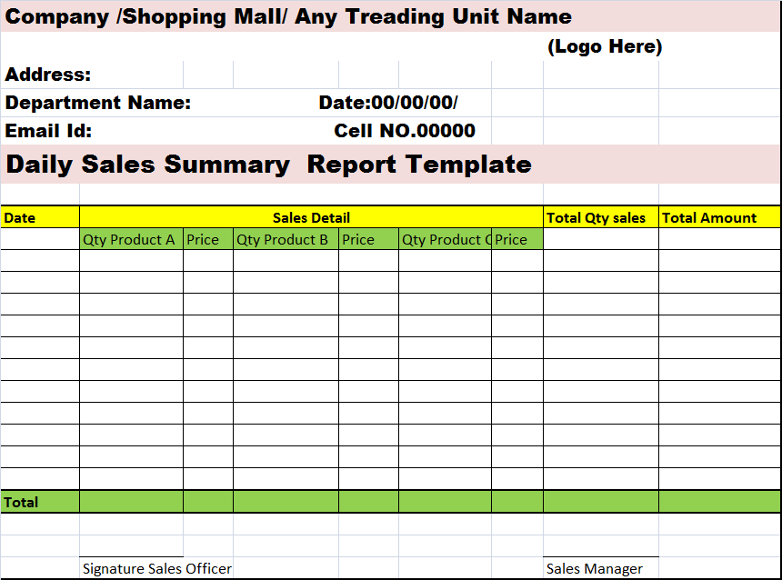 daily collection report format in excel