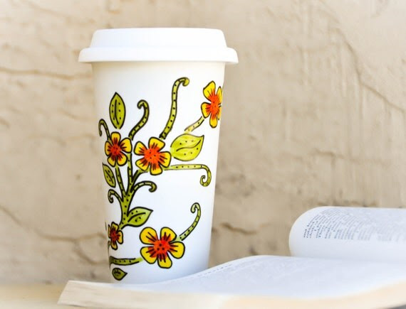 Oversized Floral Design Travel Mug -  Ceramic Porcelain Eco-cup - Yellow Orange and Green Flowers To Go Mug with Lid - Thermal Tumbler