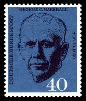 German postal stamp issued 1st day of death of George C. Marshall (1880–1959)