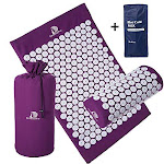 Extra Long Acupressure Mat and Pillow Massage Set - by DoSensePro + Gel Pack. Acupuncture Mattress for Neck and Back Pain. Relieve Sciatic, Headaches,
