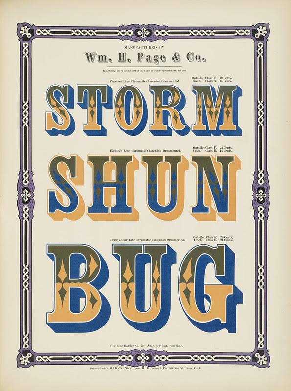 Specimens of chromatic wood type, borders 1874 - [via Columbia U] (Storm + Shun + Bug) Clarendon ornamented