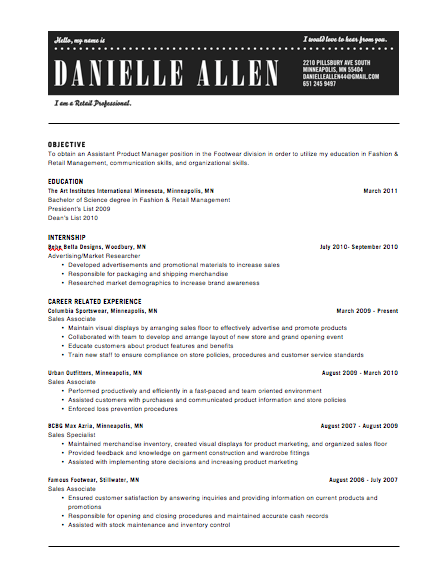 professional resume header_201447
