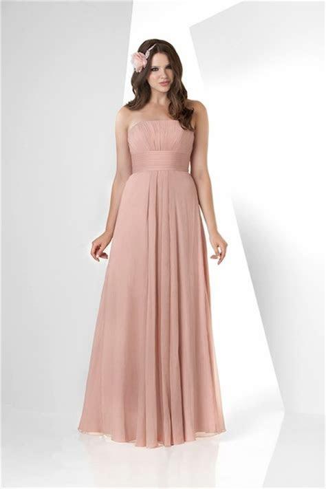 Simple A Line Strapless Long Peach Chiffon Draped Wedding