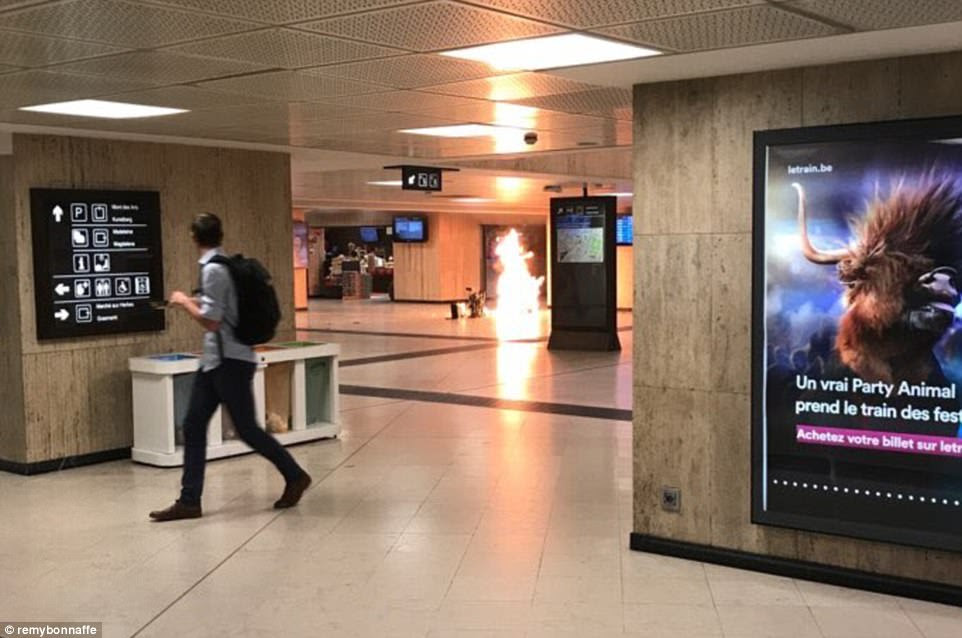 The centre of Brussels was evacuated tonight after a suspected suicide bomber blew himself up in the Belgium capital's Central Station. Pictured the explosion in the station