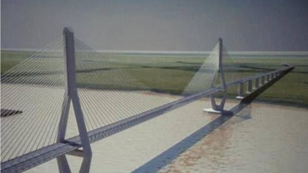 Proyecto del puente principal de 490 metros sobre el Río Paraná, que unirá las ciudades de Reconquista y Goya.