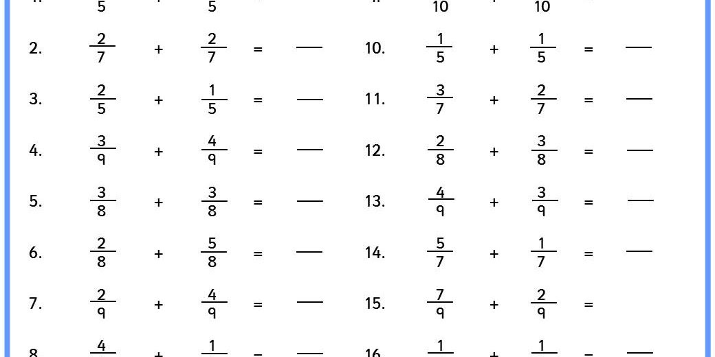 Adding Fractions Easy
