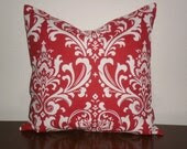 FREE DOMESTIC SHIPPING Decorative Pillow Cover - 18 inch Traditions White on Red Damask