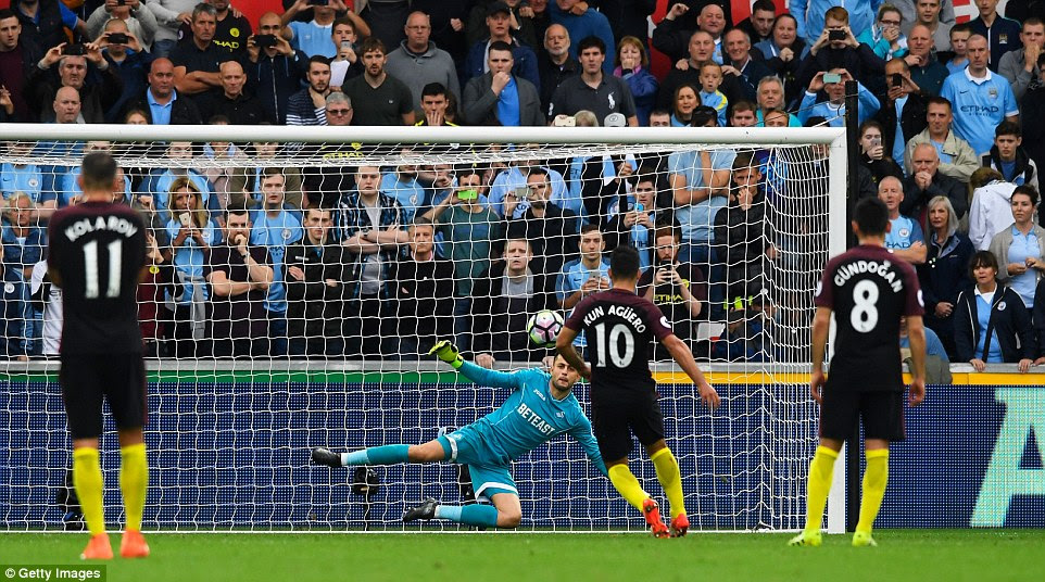 The Argentine's penalty was a cute one as he placed the ball superbly down the middle, beating keeper Fabianski