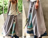 Nepalese sari cotton chiffon maxi skirt/ boho skirt/ long skirt/ asymmetrical/ strapless dress/ idea2lifestyle (Q1106)