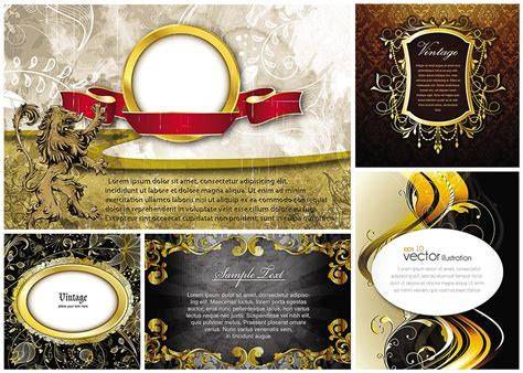 Gold frames and heraldic elements vector   Free download