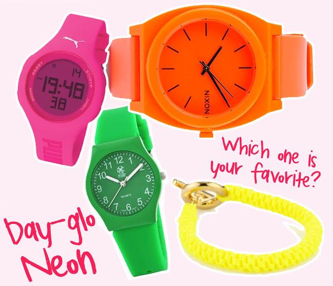 Neon bracelets, Neon watches, Fluorescent Fashion accessories