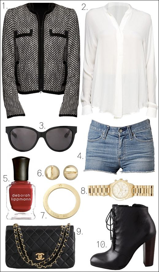 OUTFIT COLLAGE ELIZABETH AND JAMES BOOTIES VINE WHITE BLOUSE BOUCLE ASOS JACKET MARC BYB MARC SUNGLASSES ALC EARRINGS SCREW VINTAGE CHANEL BAG MICHAEL KORS WATCH GORJANA RING
