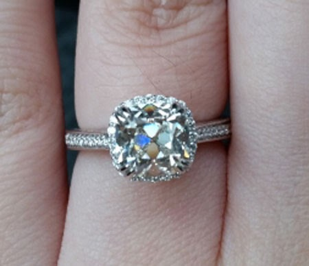 Jewel of the Week: Reset August Vintage Cushion (AVC) Diamond Ring #jotw, #ring http://www.pricescope.com...