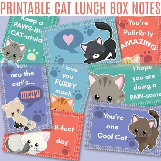 Printable Cat Lunch Box Notes | It's A Mother Thing