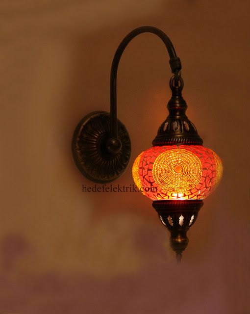 Orange Turkish Style Mosaic Lighting Wall Sconce - traditional ...