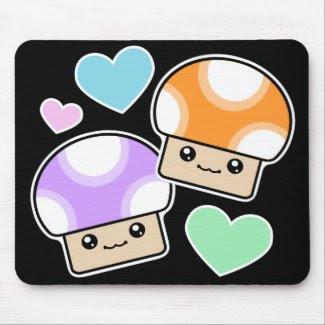 Mushy Puffs In Love Orange Purple Kawaii Mushrooms mousepad