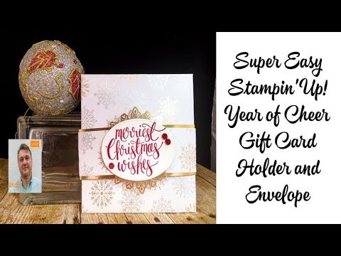 Super Easy Stampin' Up! Year of Cheer Gift Card  Holder and Envelope Vid...
