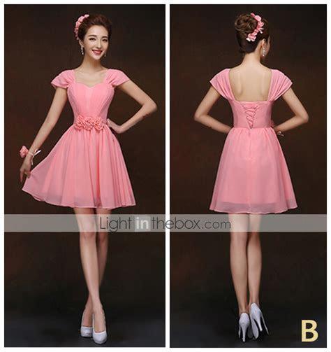 Short / Mini Lace up Bridesmaid Dress   Sheath / Column