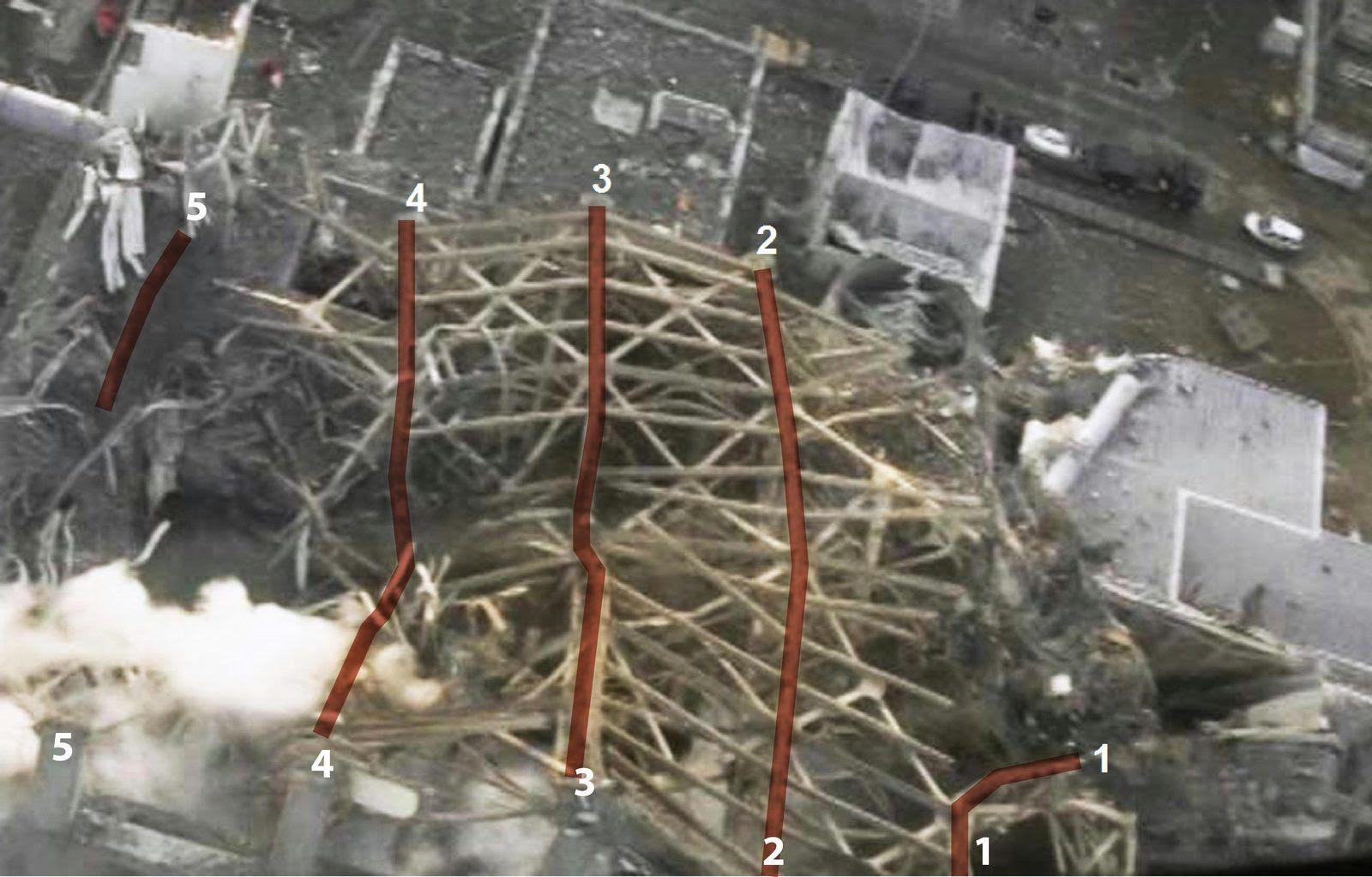 Fig. 31 : Etat des 5 poutres après les explosions
