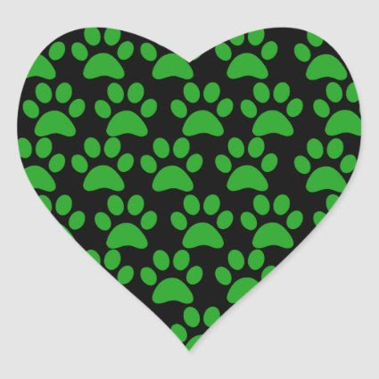 Cute Puppy Dog Paw Prints Green Black Heart Sticker