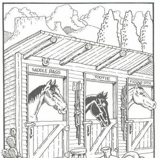 malvorlage pferdestall