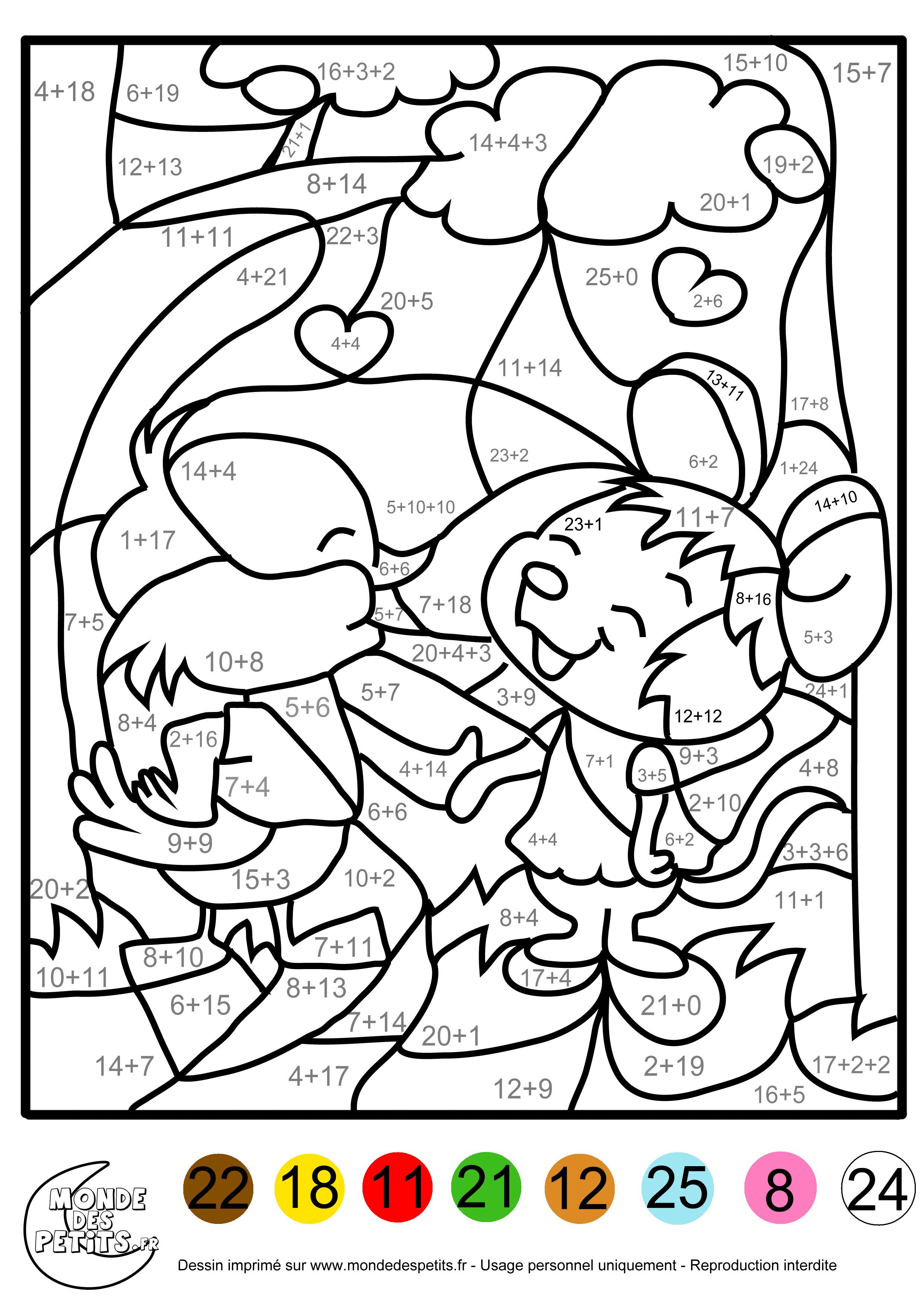 Dessin en couleurs  imprimer Chiffres et formes Coloriages magiques numéro