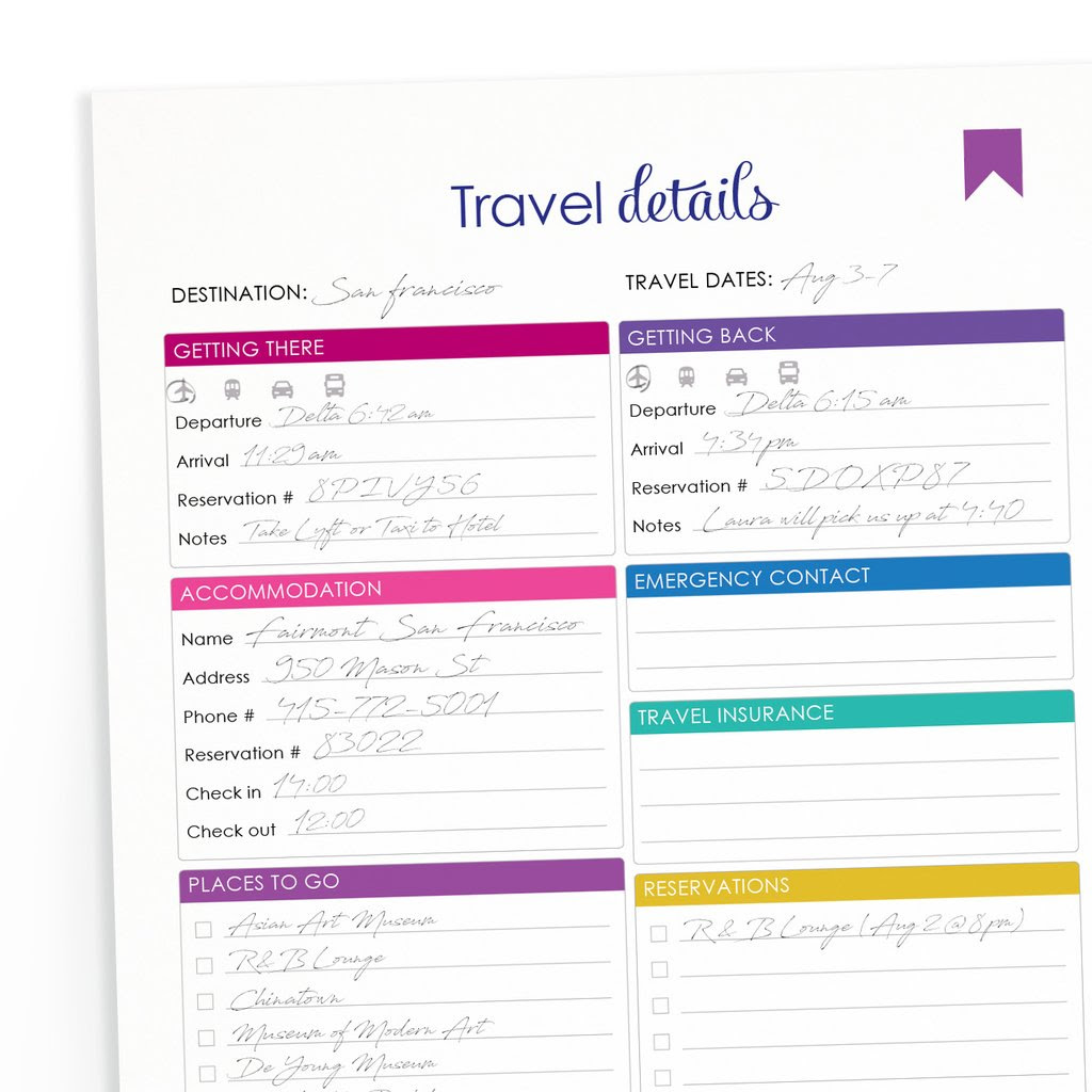 Printable Travel Itinerary  shop fresh