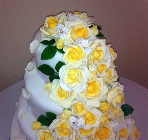 Cascading Yellow Roses Wedding Cake   CakeCentral.com