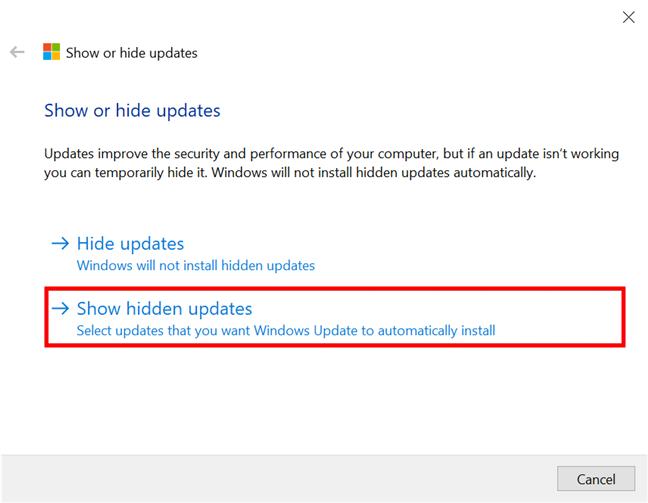 Mostrar actualizaciones previamente ocultas en Windows 10