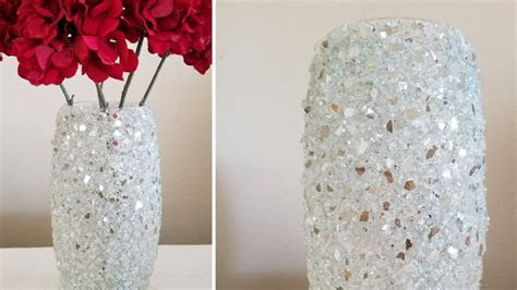 How to make vase from crushed glass   Simple Craft Ideas