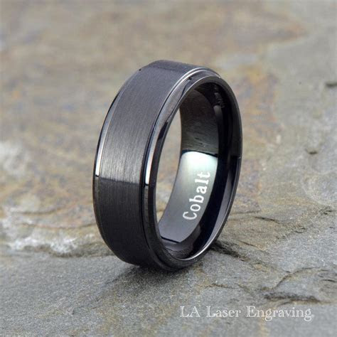 Cobalt Wedding Band, Mens Wedding Band, Black Wedding Band