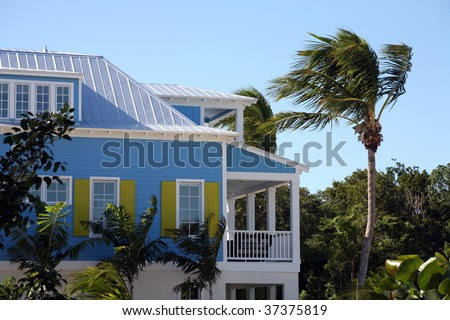 Tropical Blue House With Yellow Shutters And Palm Trees Stock ...