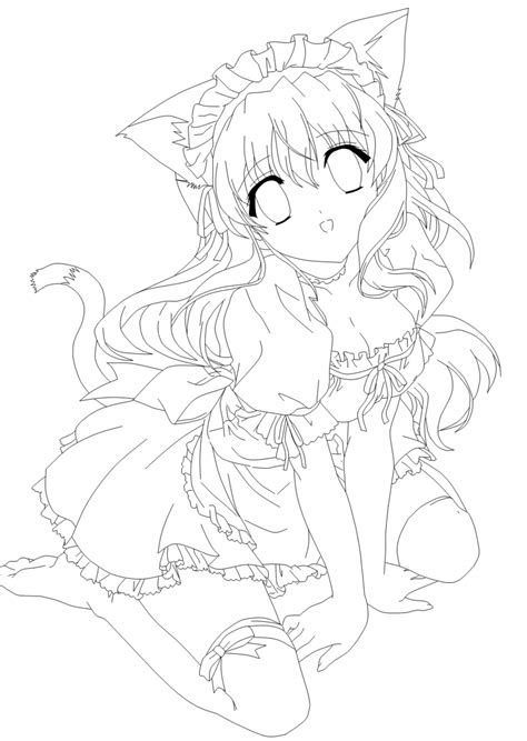 anime cat girl coloring pages  getcoloringscom