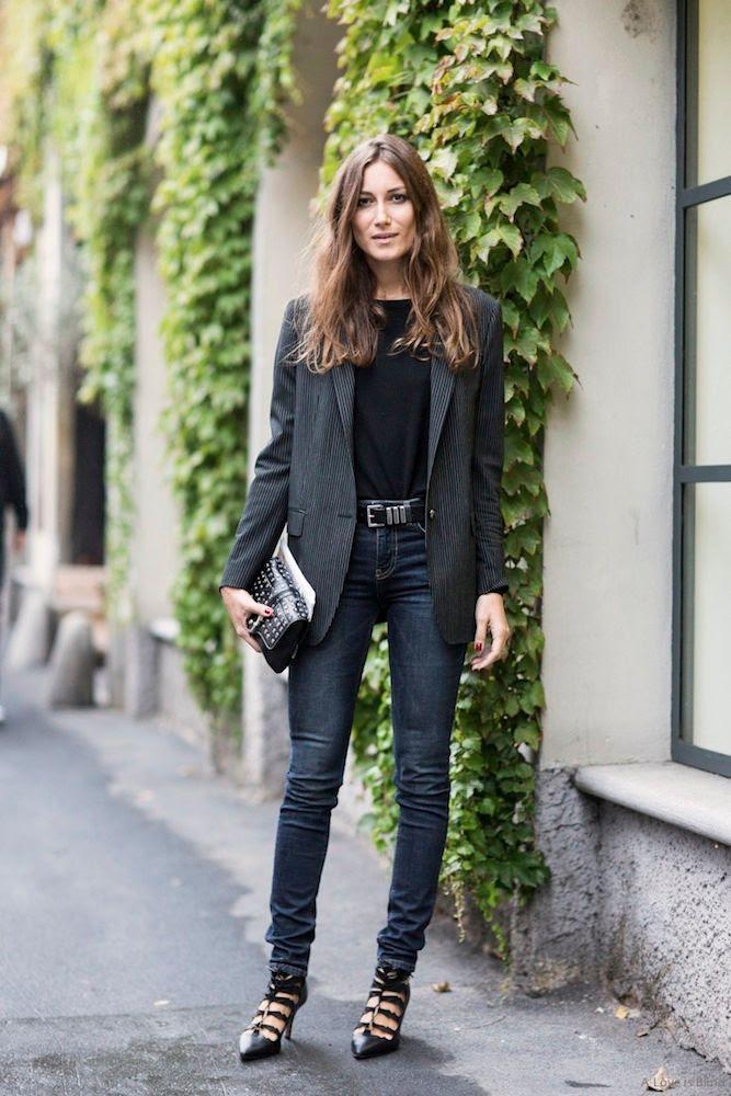 Le Fashion Blog -- Giorgia Tordini With Wavy Hair, A Striped Blazer, Saint Laurent Belt, Eyelet Clutch, Skinny Jeans & Oscar Tiye Lace Up Booties During Milan Fashion Week -- Street Style Via A Love Is Blind -- photo Le-Fashion-Blog-Giorgia-Tordini-Wavy-Hair-Striped-Blazer-Lace-Up-Booties-Milan-Fashion-Week-Street-Style-Via-A-Love-Is-Blind.jpg