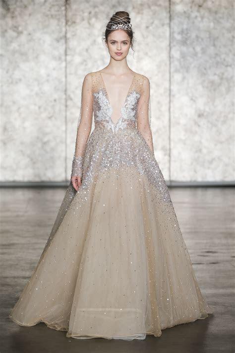 Inbal Dror V Neck Long Sleeve Sequin Golden Ball Gown